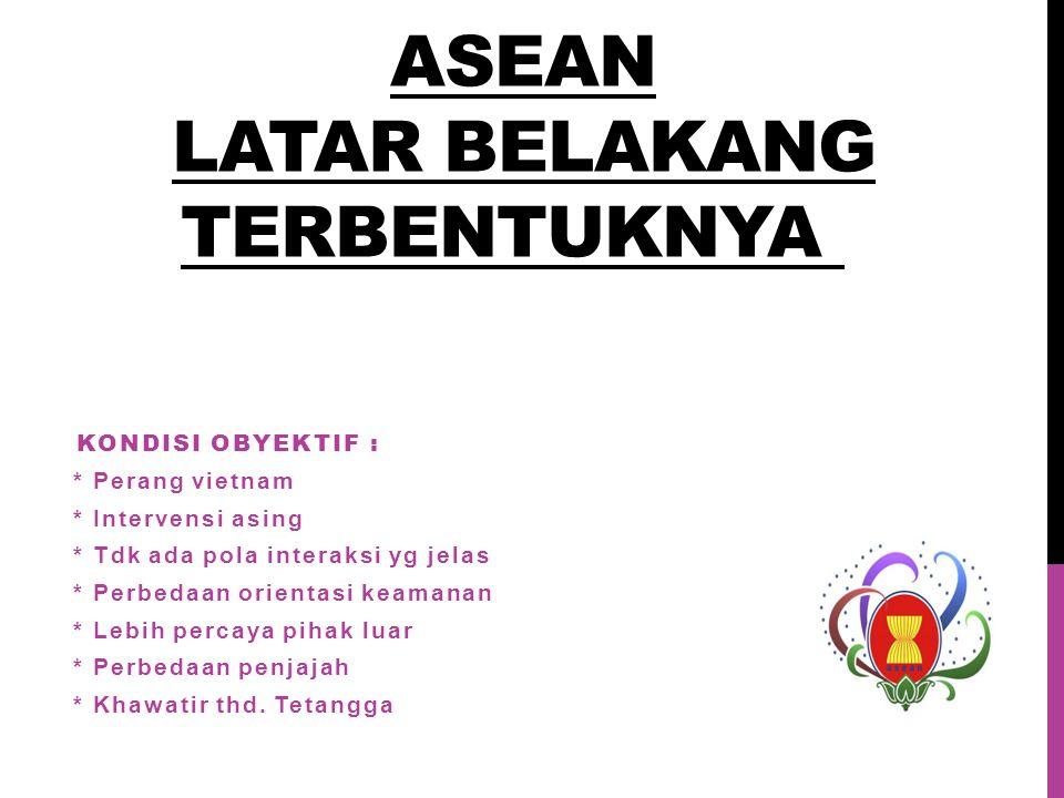 ASEAN LATAR BELAKANG TERBENTUKNYA