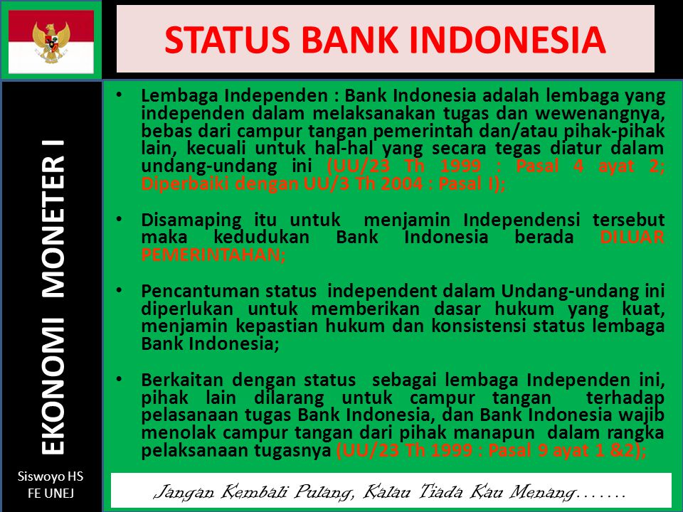 STATUS BANK INDONESIA