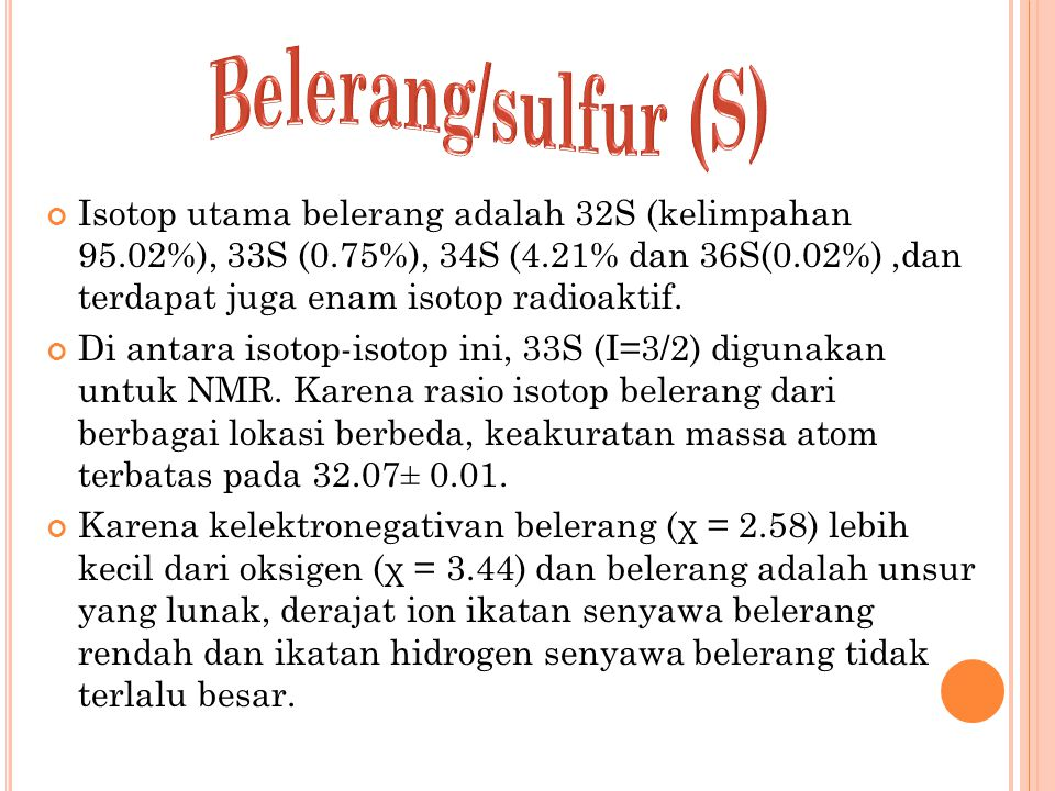 Belerang/sulfur (S)