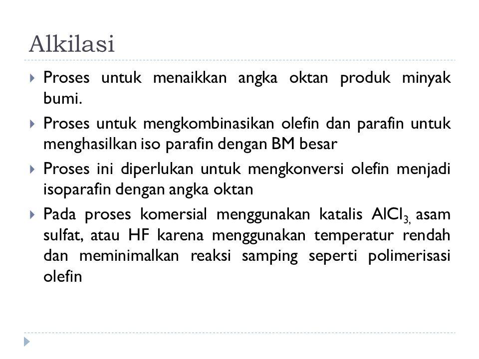 Alkilasi Proses untuk menaikkan angka oktan produk minyak bumi.