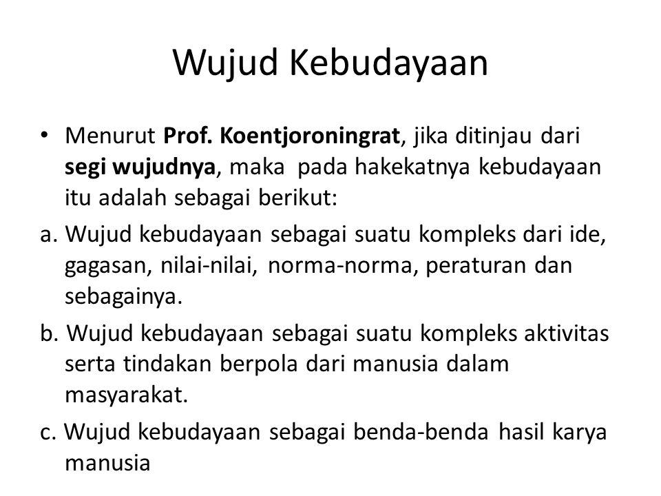 Wujud Kebudayaan Menurut Prof. Koentjoroningrat, jika ditinjau dari segi wujudnya, maka pada hakekatnya kebudayaan itu adalah sebagai berikut:
