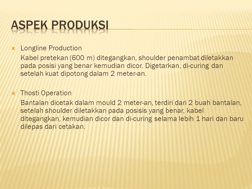 Aspek Produksi Longline Production