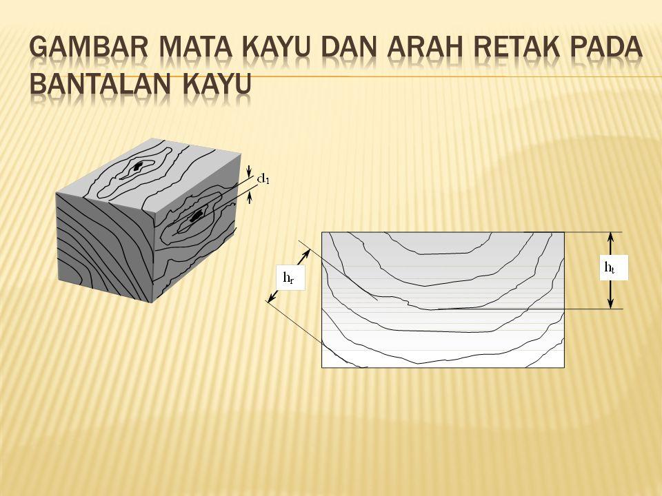 Gambar Mata Kayu dan Arah Retak pada Bantalan Kayu