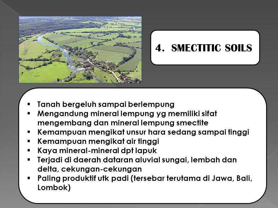 4. SMECTITIC SOILS Tanah bergeluh sampai berlempung
