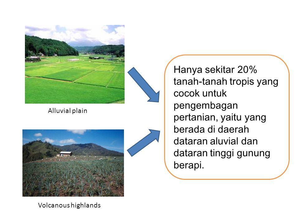 Hanya sekitar 20% tanah-tanah tropis yang cocok untuk pengembagan pertanian, yaitu yang berada di daerah dataran aluvial dan dataran tinggi gunung berapi.