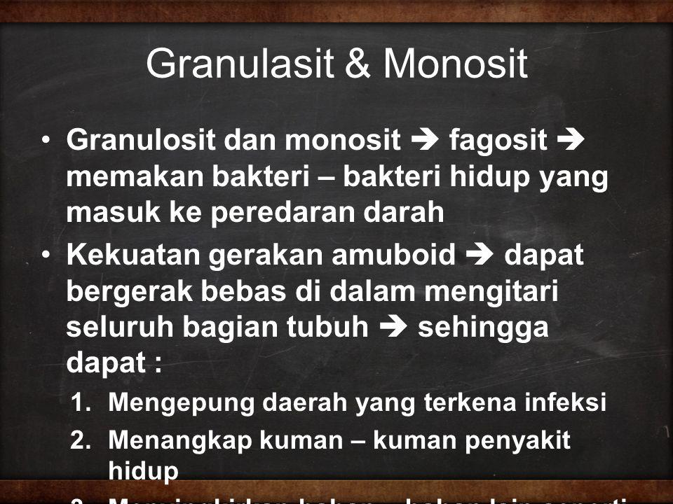Granulasit & Monosit Granulosit dan monosit  fagosit  memakan bakteri – bakteri hidup yang masuk ke peredaran darah.