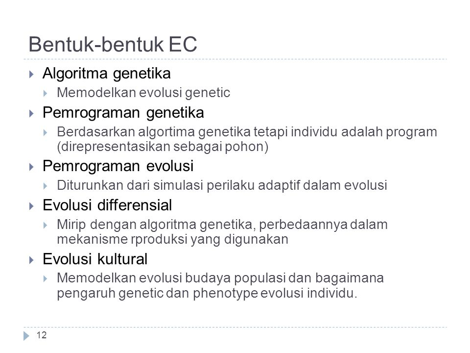 Bentuk-bentuk EC Algoritma genetika Pemrograman genetika