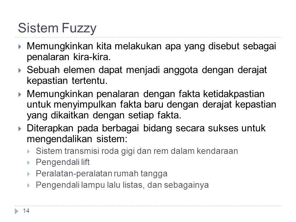 Sistem Fuzzy Memungkinkan kita melakukan apa yang disebut sebagai penalaran kira-kira.