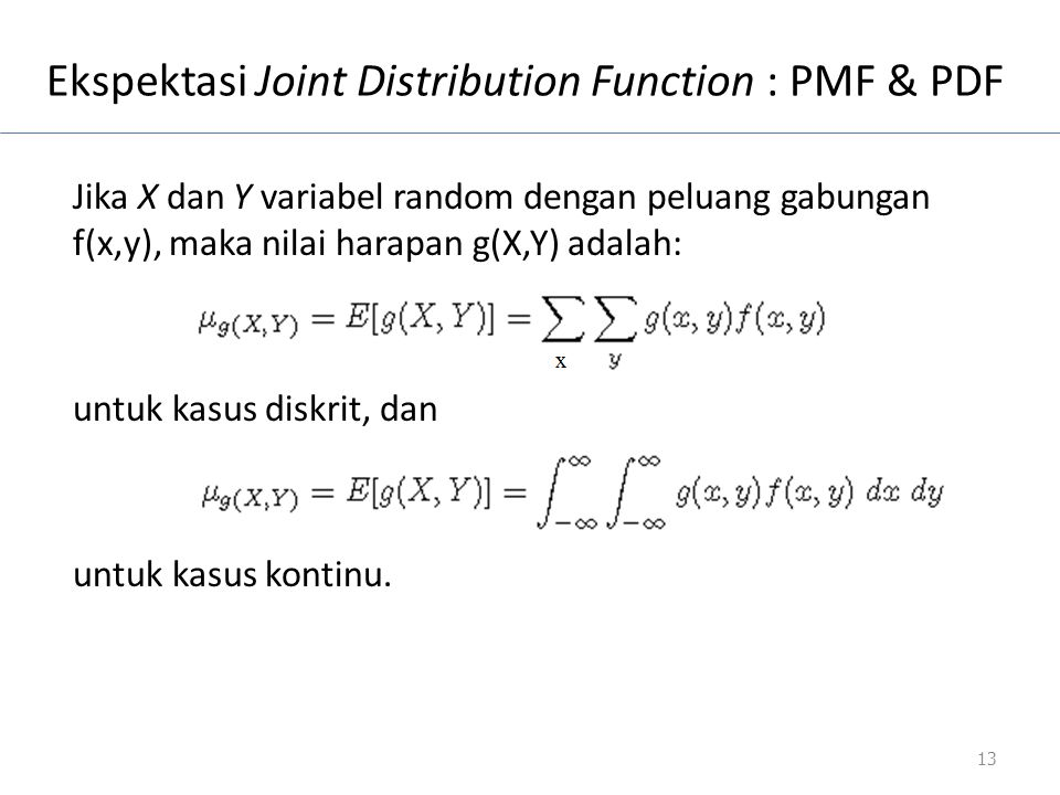 Ekspektasi Joint Distribution Function : PMF & PDF
