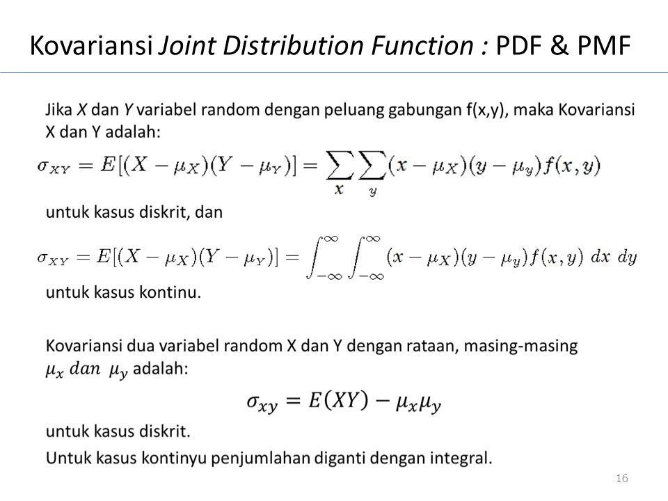 Kovariansi Joint Distribution Function : PDF & PMF