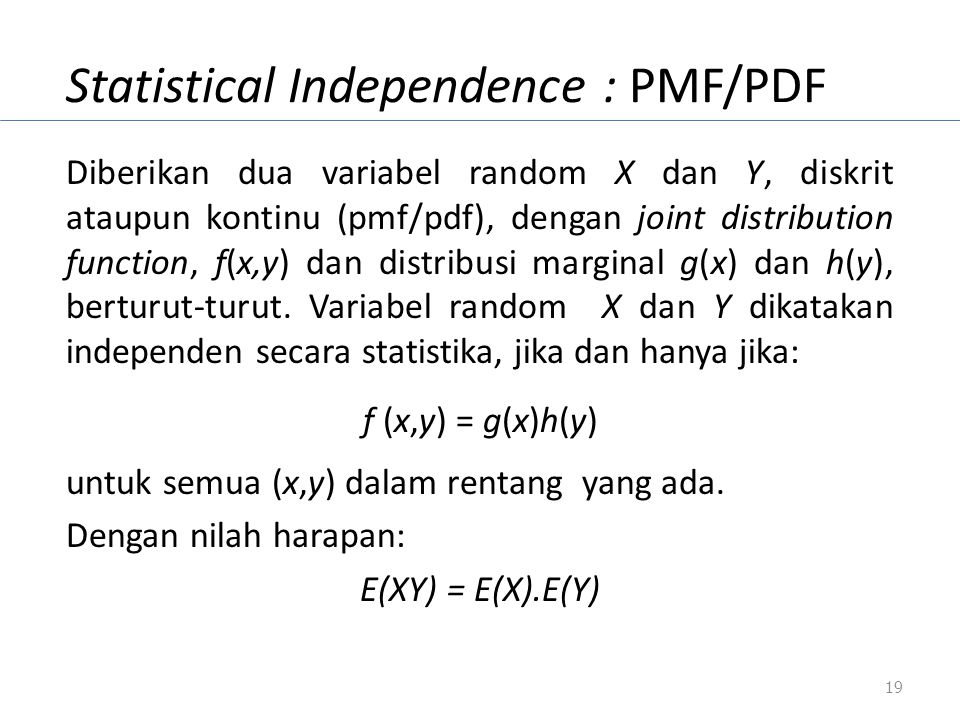 Statistical Independence : PMF/PDF