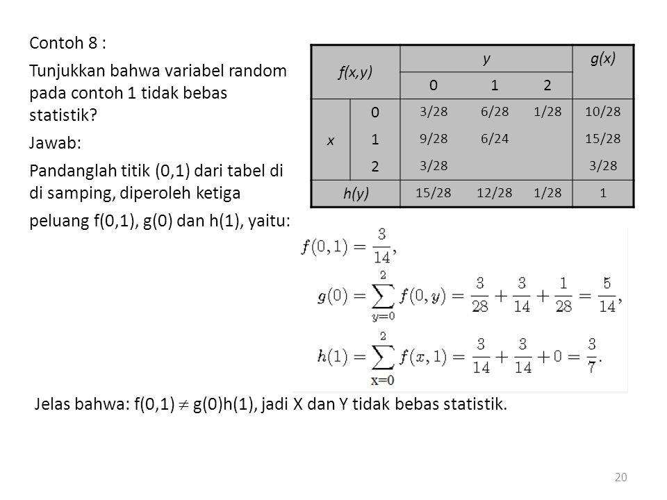peluang f(0,1), g(0) dan h(1), yaitu:
