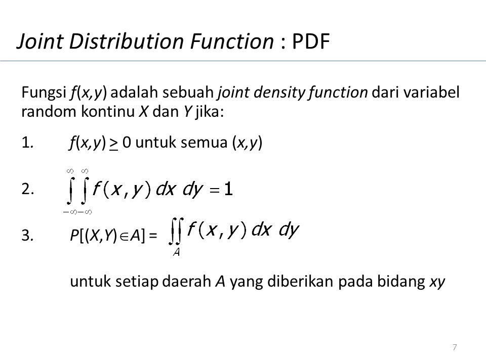 Joint Distribution Function : PDF
