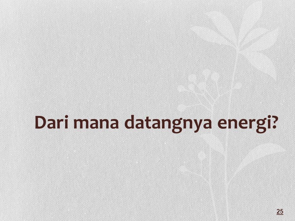 Dari mana datangnya energi