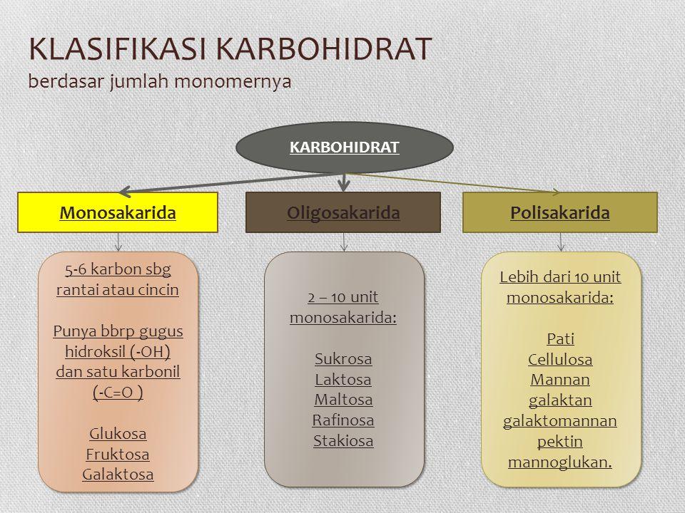 KLASIFIKASI KARBOHIDRAT berdasar jumlah monomernya