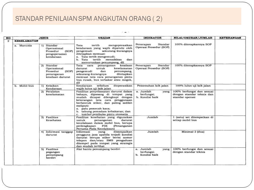 STANDAR PENILAIAN SPM ANGKUTAN ORANG ( 2)