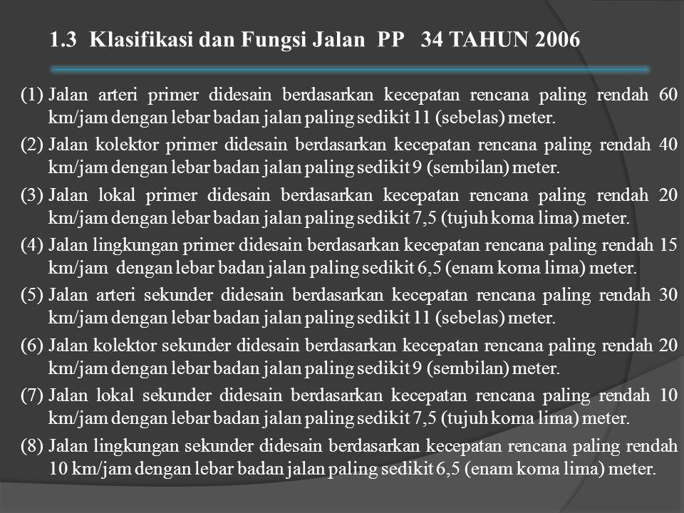 1.3 Klasifikasi dan Fungsi Jalan PP 34 TAHUN 2006