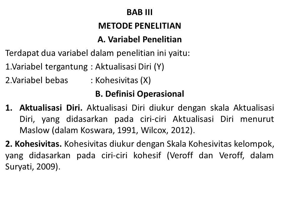 B. Definisi Operasional