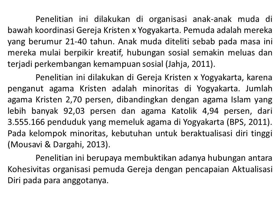 Penelitian ini dilakukan di organisasi anak-anak muda di bawah koordinasi Gereja Kristen x Yogyakarta.
