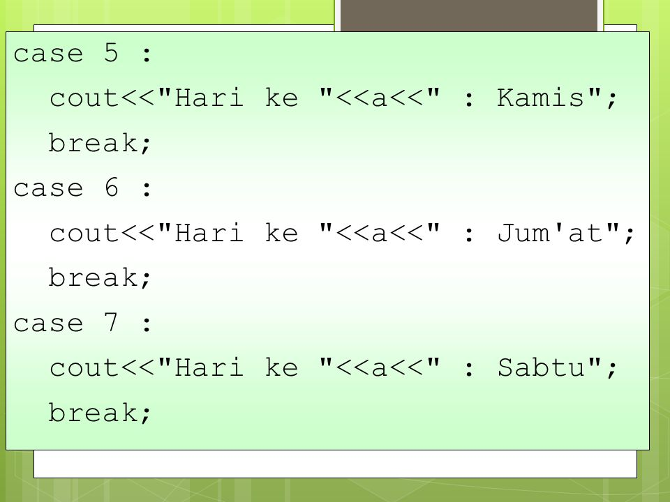 case 5 : cout<< Hari ke <<a<< : Kamis ; break; case 6 : cout<< Hari ke <<a<< : Jum at ; case 7 :