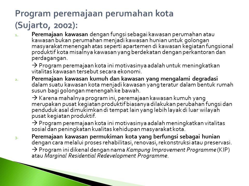 Program peremajaan perumahan kota (Sujarto, 2002):
