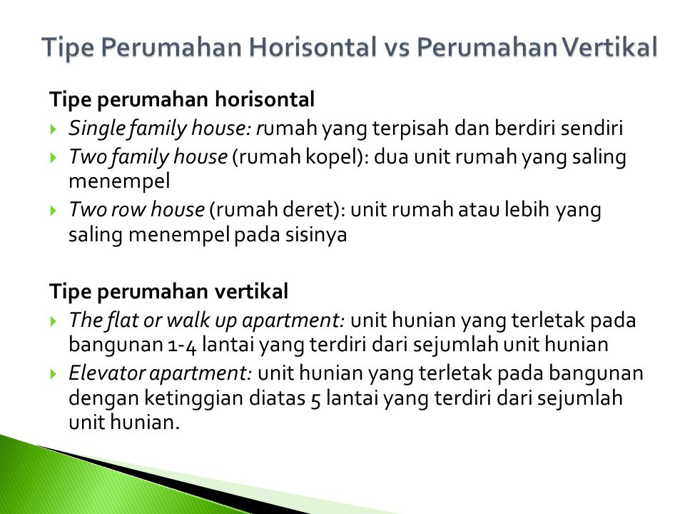 Tipe Perumahan Horisontal vs Perumahan Vertikal