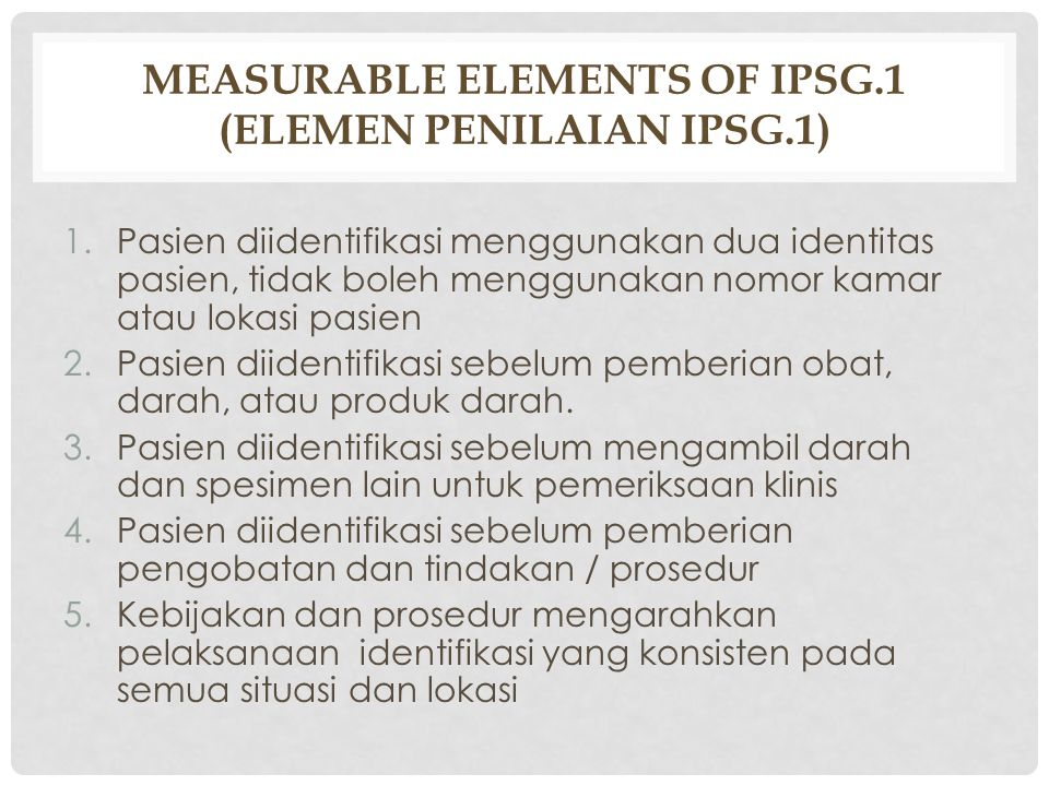 Measurable Elements of IPSG.1 (Elemen Penilaian IPSG.1)