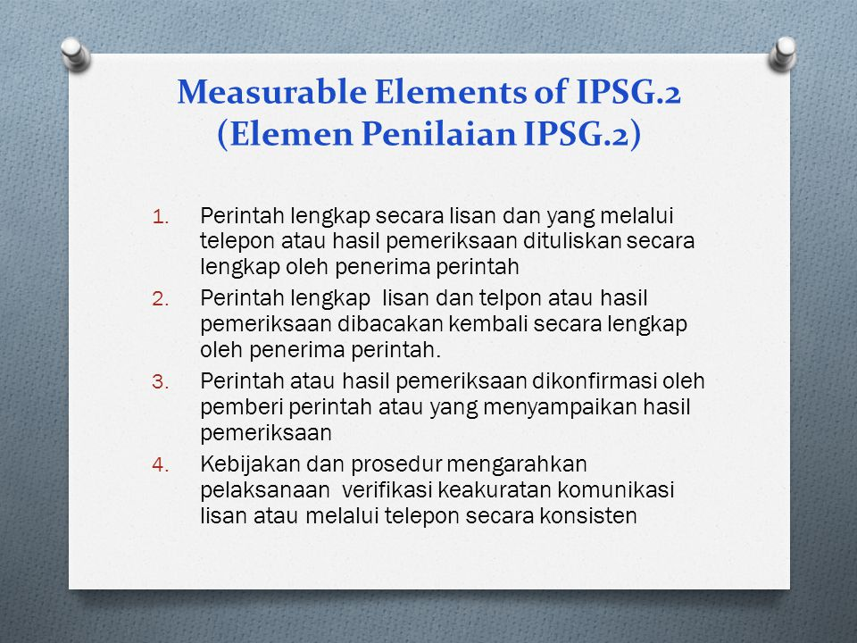 Measurable Elements of IPSG.2 (Elemen Penilaian IPSG.2)