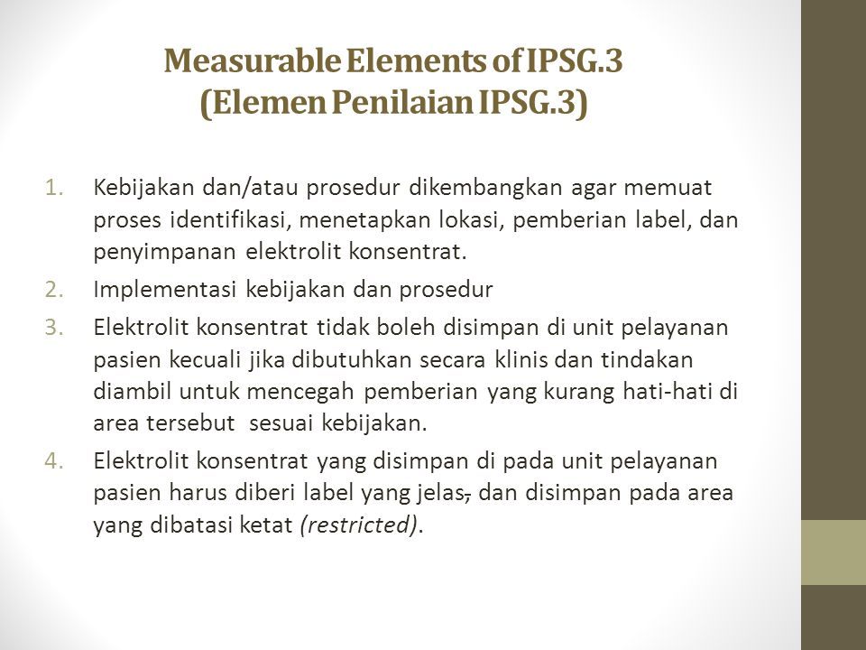 Measurable Elements of IPSG.3 (Elemen Penilaian IPSG.3)