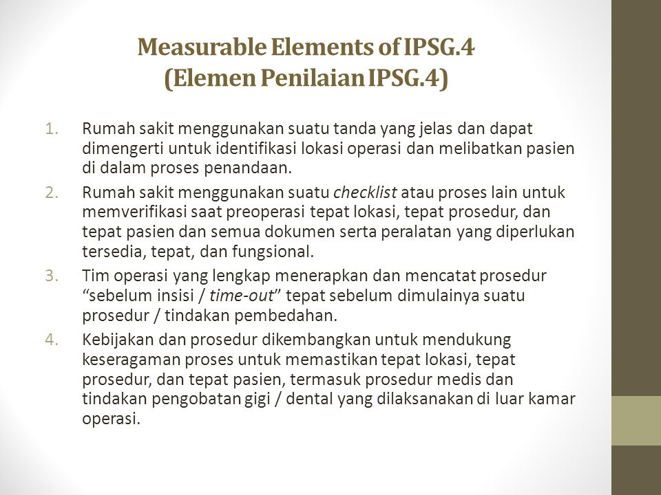 Measurable Elements of IPSG.4 (Elemen Penilaian IPSG.4)