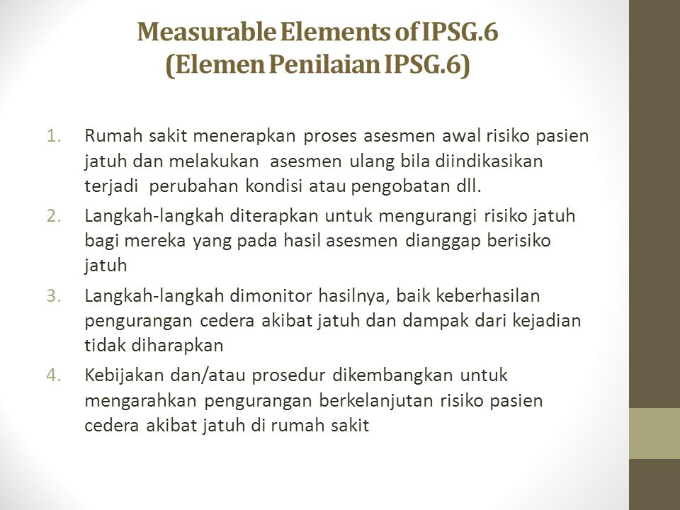 Measurable Elements of IPSG.6 (Elemen Penilaian IPSG.6)