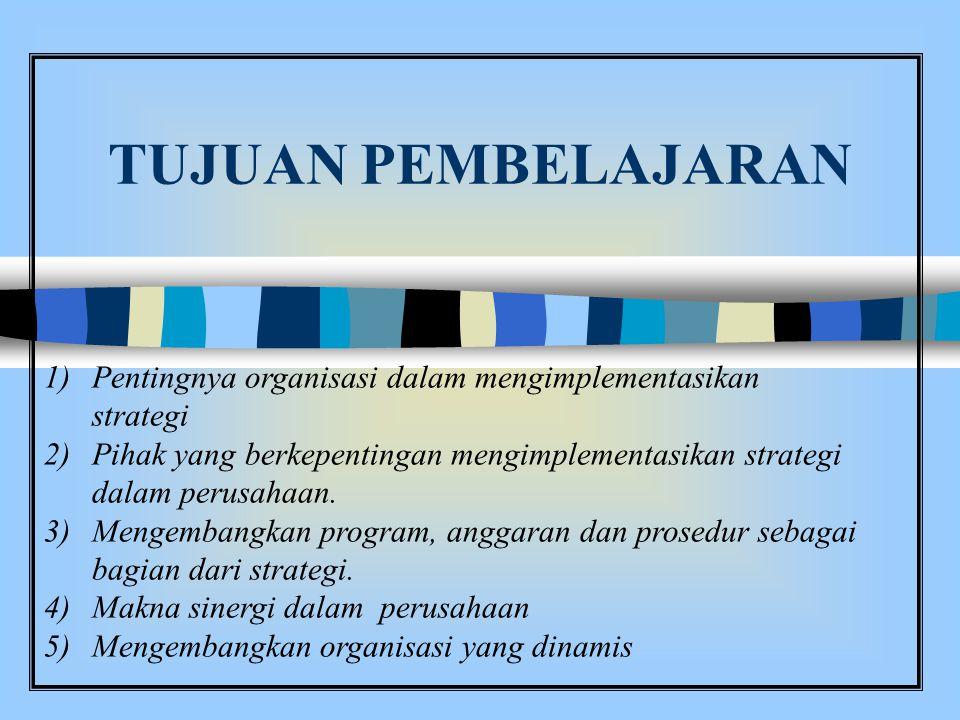 TUJUAN PEMBELAJARAN Pentingnya organisasi dalam mengimplementasikan strategi.
