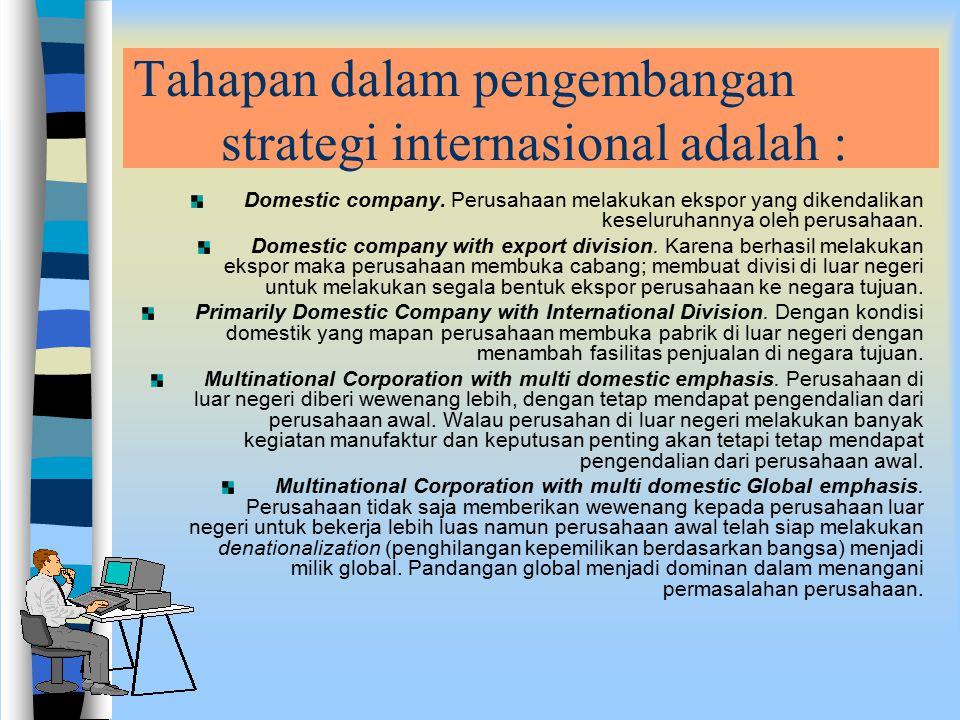 Tahapan dalam pengembangan strategi internasional adalah :