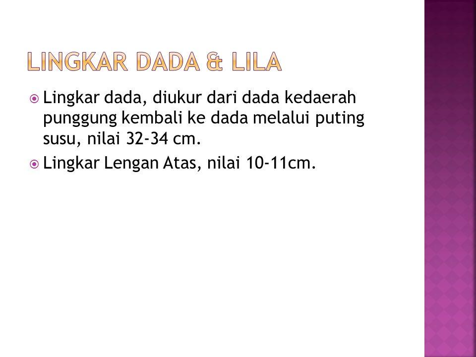 Lingkar Dada & LILA Lingkar dada, diukur dari dada kedaerah punggung kembali ke dada melalui puting susu, nilai 32-34 cm.