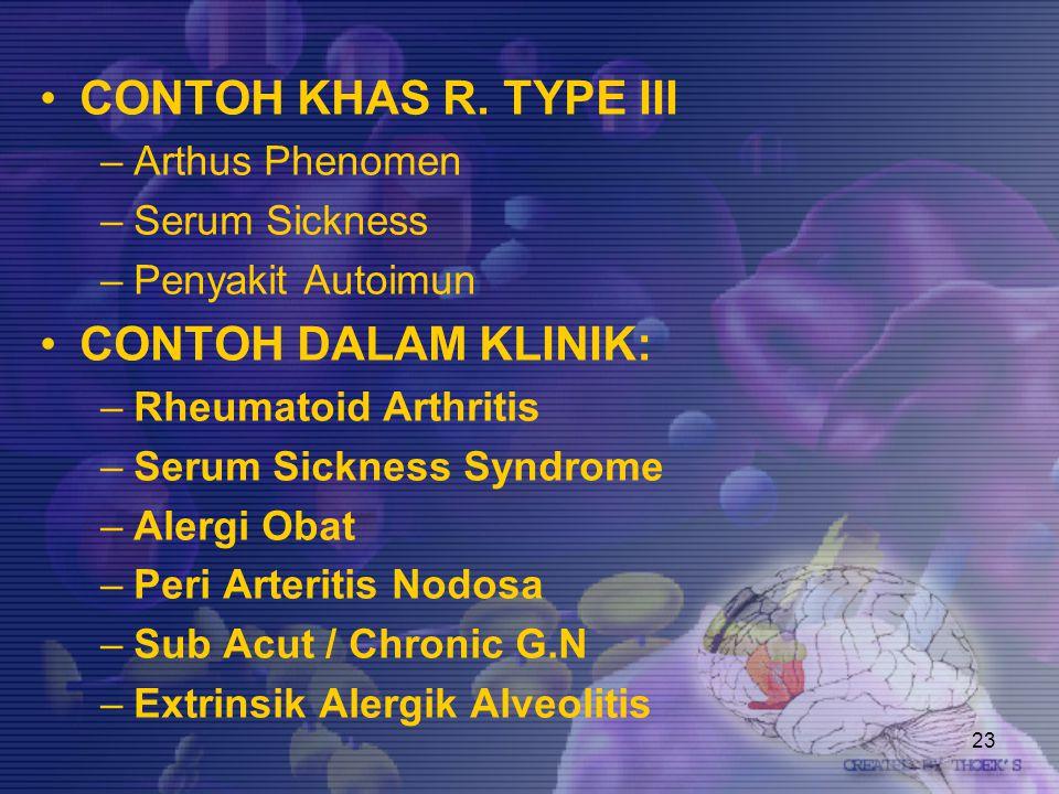 CONTOH KHAS R. TYPE III CONTOH DALAM KLINIK: Arthus Phenomen
