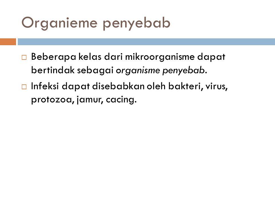 Organieme penyebab Beberapa kelas dari mikroorganisme dapat bertindak sebagai organisme penyebab.