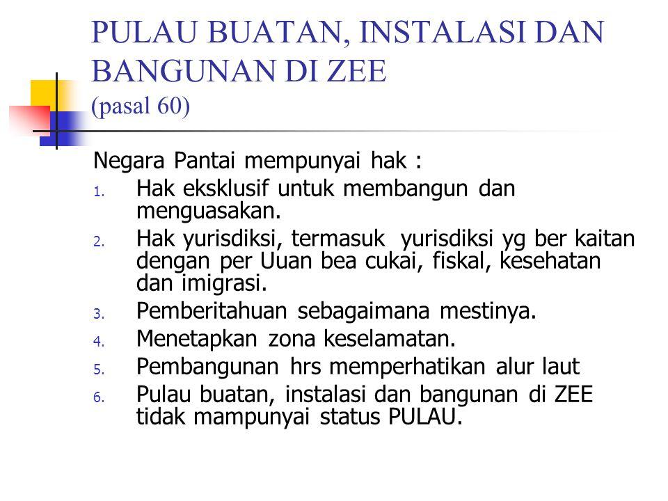 PULAU BUATAN, INSTALASI DAN BANGUNAN DI ZEE (pasal 60)