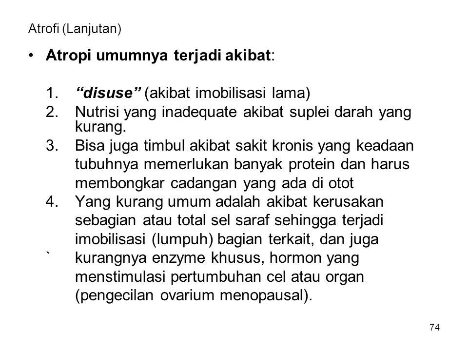 Atropi umumnya terjadi akibat: 1. disuse (akibat imobilisasi lama)