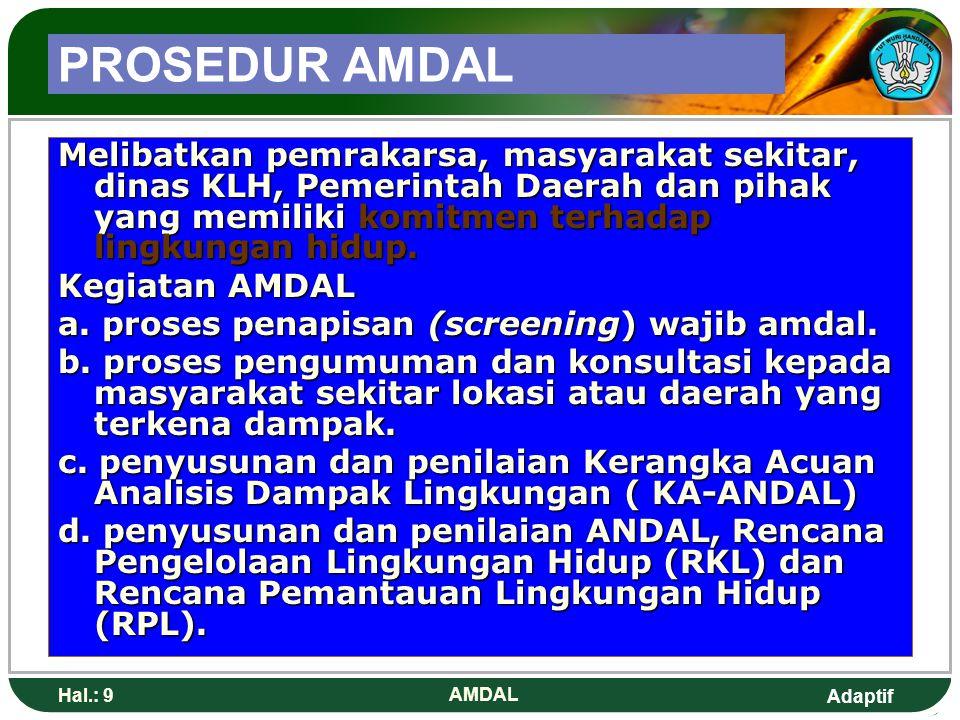 PROSEDUR AMDAL Melibatkan pemrakarsa, masyarakat sekitar, dinas KLH, Pemerintah Daerah dan pihak yang memiliki komitmen terhadap lingkungan hidup.