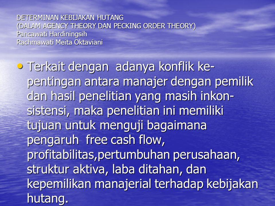 DETERMINAN KEBIJAKAN HUTANG (DALAM AGENCY THEORY DAN PECKING ORDER THEORY) Pancawati Hardiningsih Rachmawati Meita Oktaviani