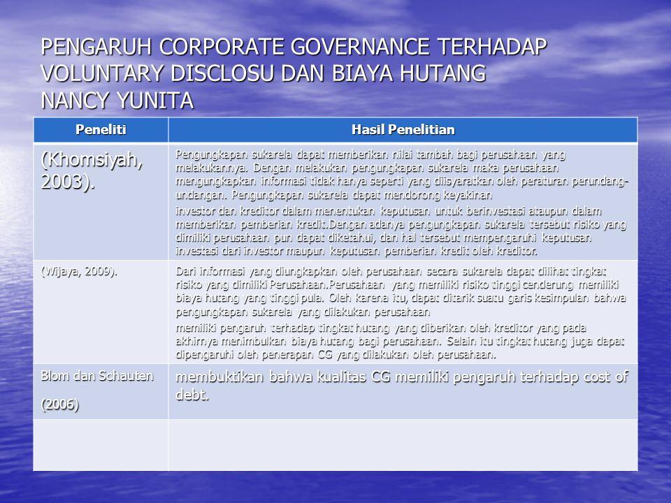 PENGARUH CORPORATE GOVERNANCE TERHADAP VOLUNTARY DISCLOSU DAN BIAYA HUTANG NANCY YUNITA