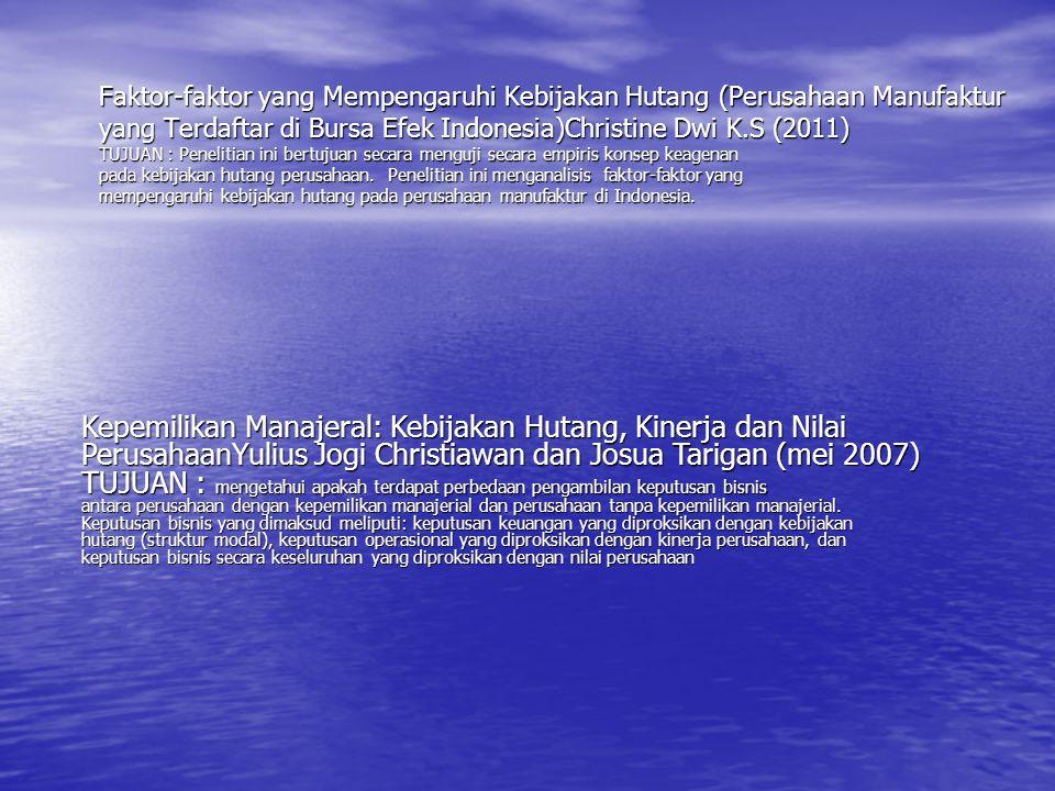 Faktor-faktor yang Mempengaruhi Kebijakan Hutang (Perusahaan Manufaktur yang Terdaftar di Bursa Efek Indonesia)Christine Dwi K.S (2011) TUJUAN : Penelitian ini bertujuan secara menguji secara empiris konsep keagenan pada kebijakan hutang perusahaan. Penelitian ini menganalisis faktor-faktor yang mempengaruhi kebijakan hutang pada perusahaan manufaktur di Indonesia.