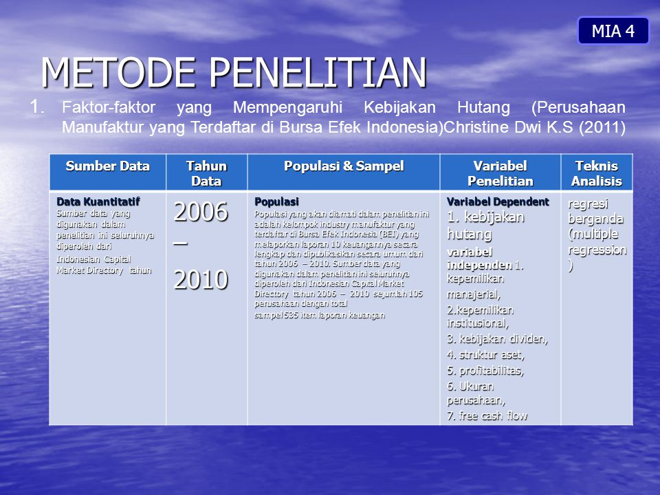 METODE PENELITIAN 2006 – 2010 MIA 4