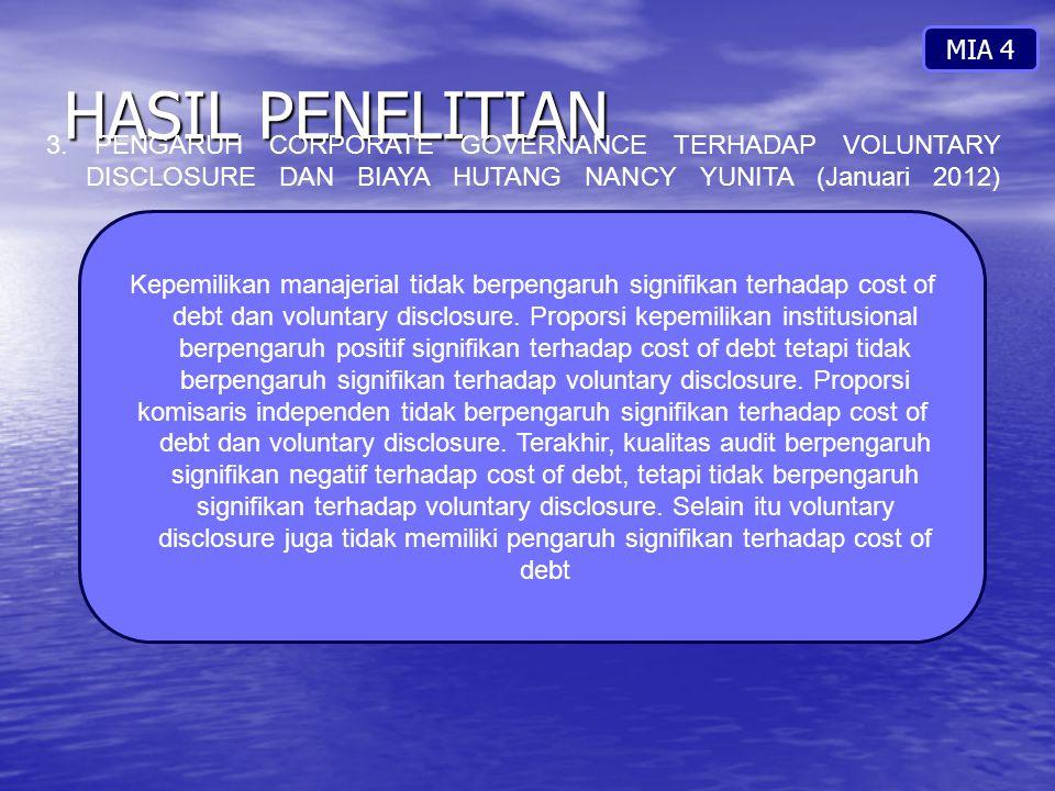 MIA 4 HASIL PENELITIAN. 3. PENGARUH CORPORATE GOVERNANCE TERHADAP VOLUNTARY DISCLOSURE DAN BIAYA HUTANG NANCY YUNITA (Januari 2012)