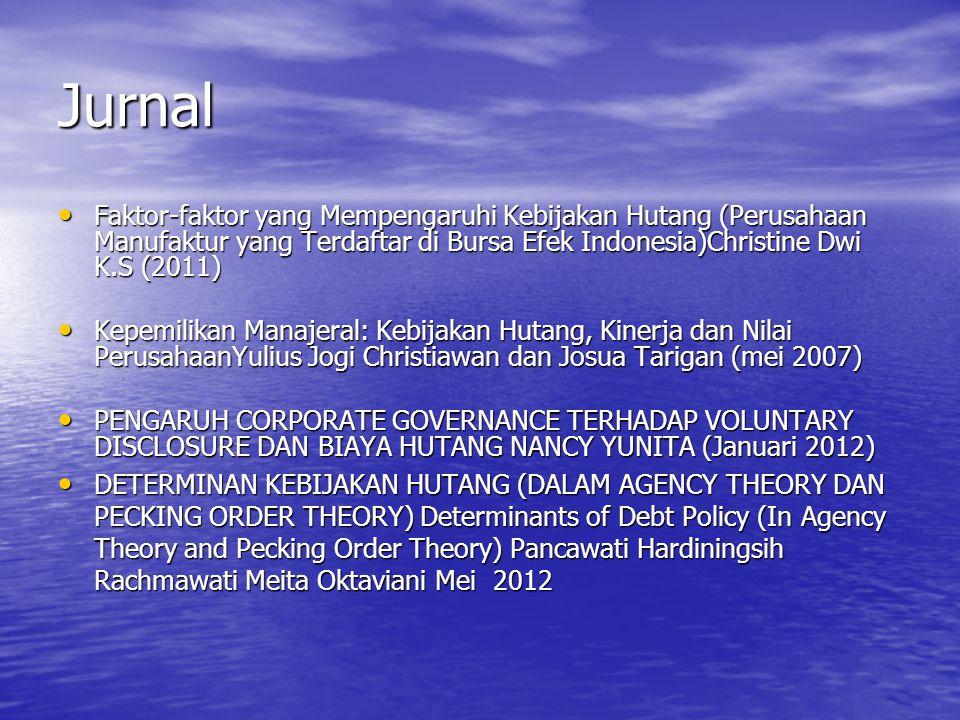 Jurnal Faktor-faktor yang Mempengaruhi Kebijakan Hutang (Perusahaan Manufaktur yang Terdaftar di Bursa Efek Indonesia)Christine Dwi K.S (2011)