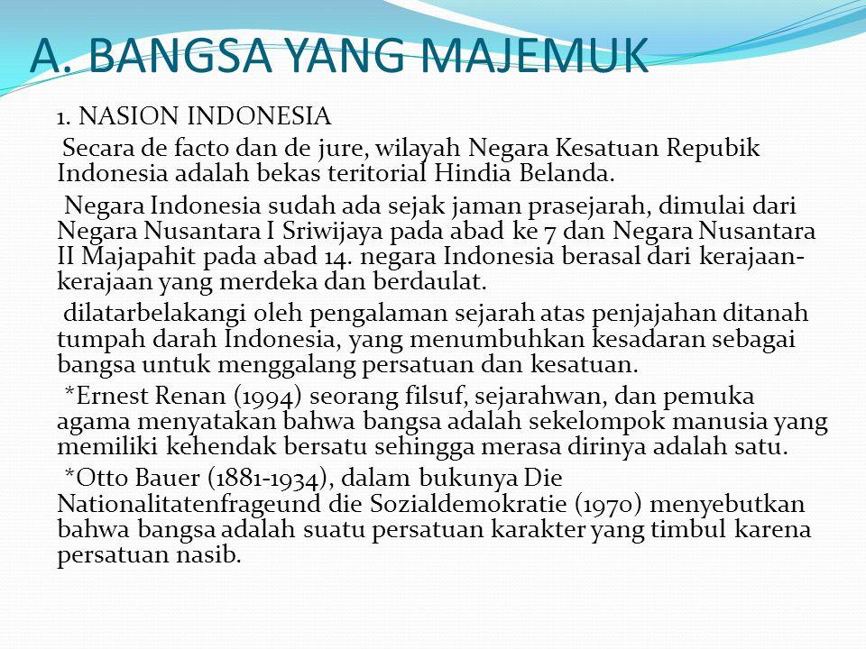 A. BANGSA YANG MAJEMUK 1. NASION INDONESIA