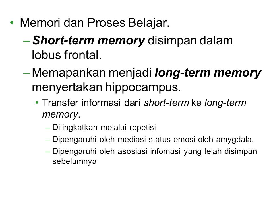 Memori dan Proses Belajar.