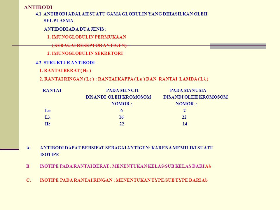 ANTIBODI 4.1 ANTIBODI ADALAH SUATU GAMA GLOBULIN YANG DIHASILKAN OLEH