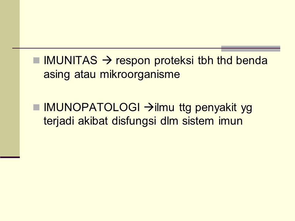 IMUNITAS  respon proteksi tbh thd benda asing atau mikroorganisme