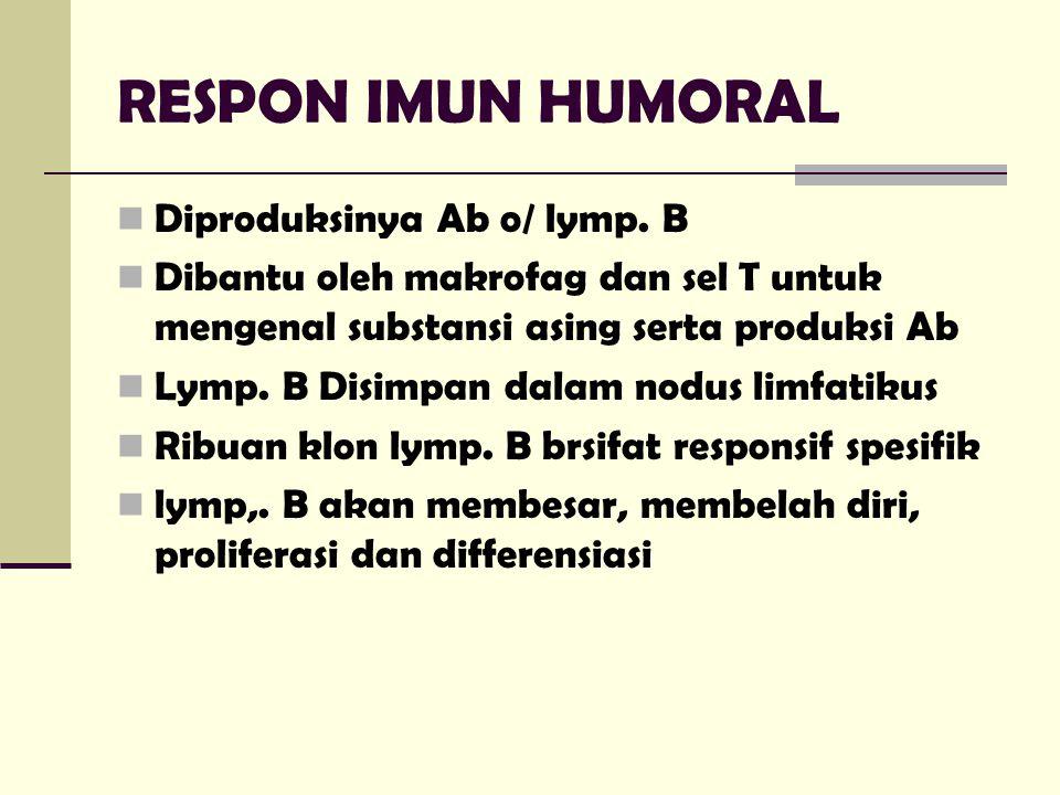 RESPON IMUN HUMORAL Diproduksinya Ab o/ lymp. B